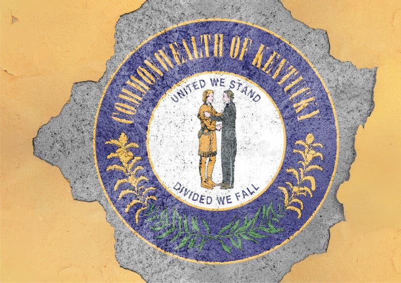 Bandiera della guarnizione del Kentucky dello stato USA dipinta sul foro concreto e sulla parete incrinata fotografie stock libere da diritti
