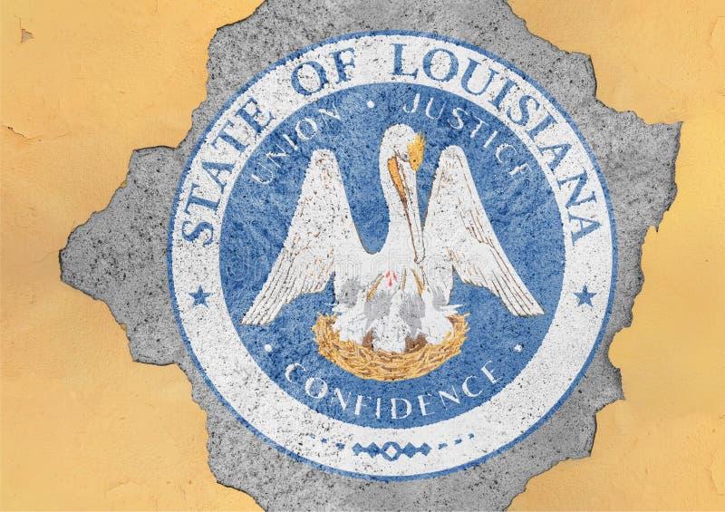 Bandiera della guarnizione della Luisiana dello stato USA in grande foro incrinato concreto immagini stock libere da diritti