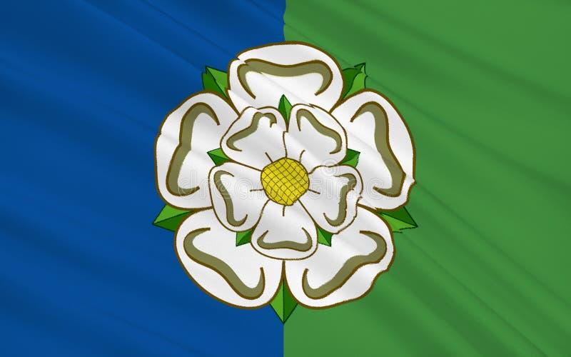 Bandiera della guida orientale della contea di Yorkshire, Inghilterra illustrazione di stock