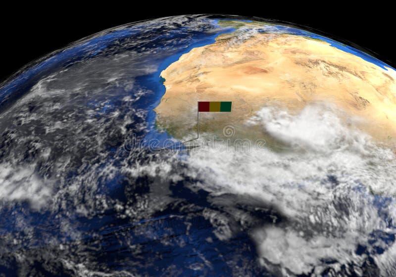 Bandiera della Guinea sul palo sull'illustrazione del globo della terra illustrazione di stock