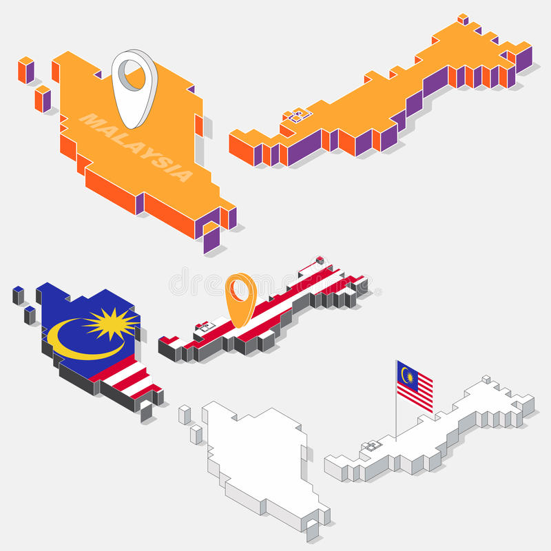 Bandiera della Malesia sull'elemento della mappa con forma isometrica 3D isolato su fondo royalty illustrazione gratis