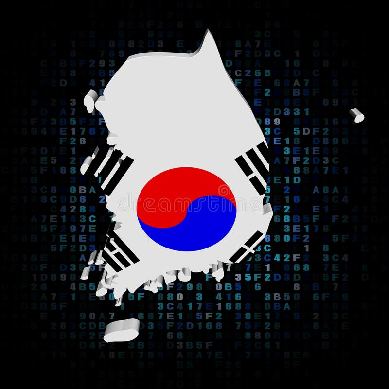 Bandiera della mappa della Corea del Sud sull'illustrazione di codice della sfortuna illustrazione vettoriale
