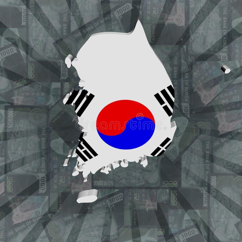 Bandiera della mappa della Corea del Sud sull'illustrazione di scoppio Won illustrazione di stock
