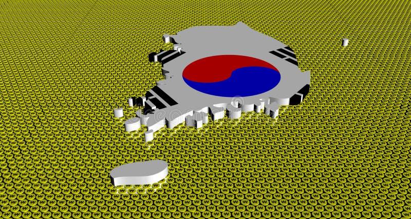 Bandiera della mappa della Corea del Sud sull'illustrazione vinta dorata delle monete illustrazione vettoriale