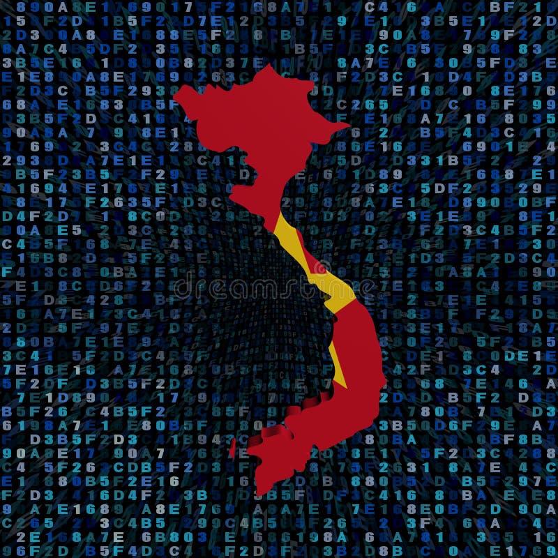Bandiera della mappa del Vietnam sull'illustrazione di codice della sfortuna illustrazione vettoriale