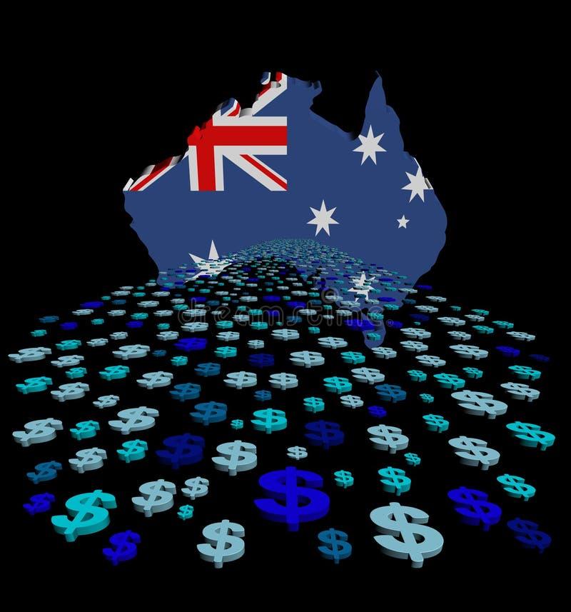 Bandiera della mappa dell'Australia con l'illustrazione astratta dei dollari illustrazione di stock