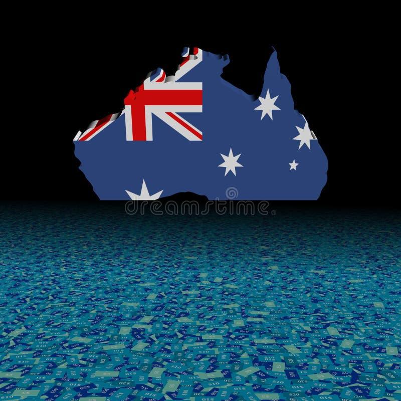 Bandiera della mappa dell'Australia con l'illustrazione astratta della priorità alta del dollaro illustrazione di stock