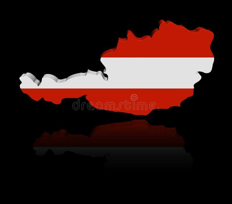 Bandiera della mappa dell'Austria con l'illustrazione di riflessione royalty illustrazione gratis