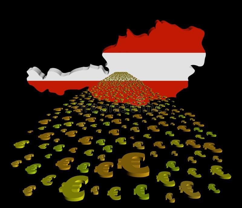 Bandiera della mappa dell'Austria con l'illustrazione della priorità alta degli euro illustrazione di stock