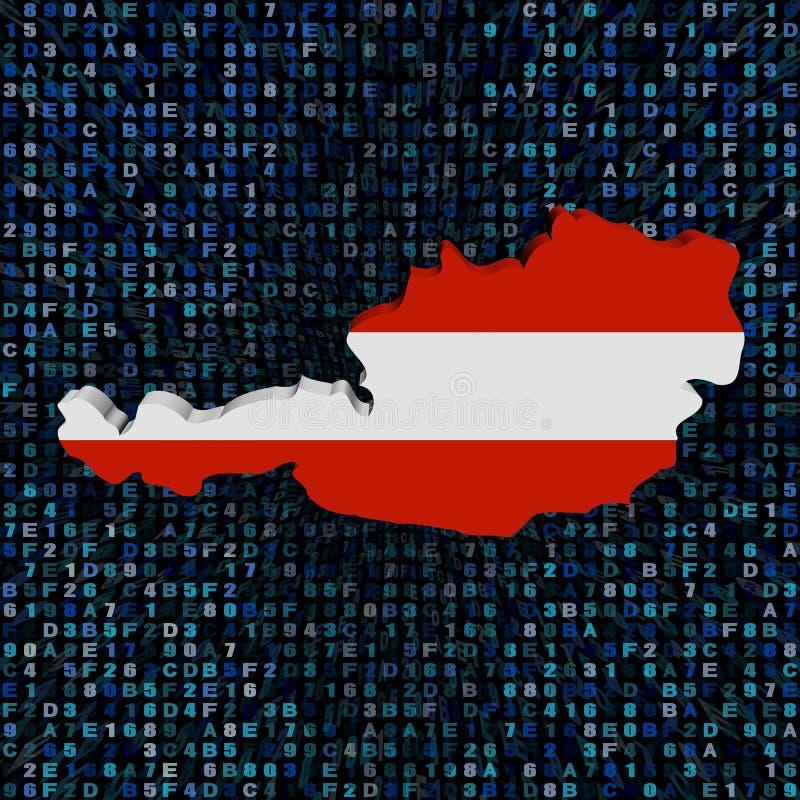 Bandiera della mappa dell'Austria sull'illustrazione di codice della sfortuna illustrazione di stock