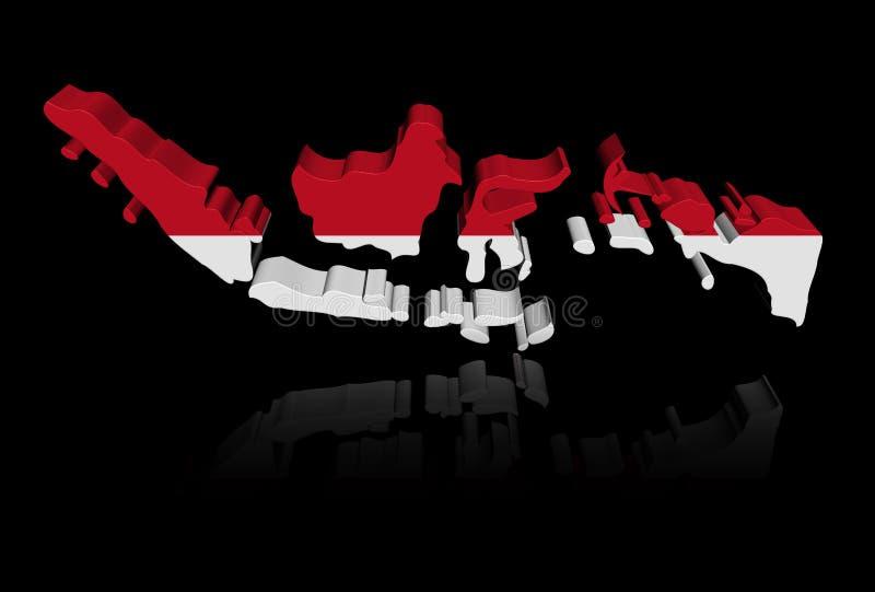 Bandiera della mappa dell'Indonesia con l'illustrazione di riflessione illustrazione di stock