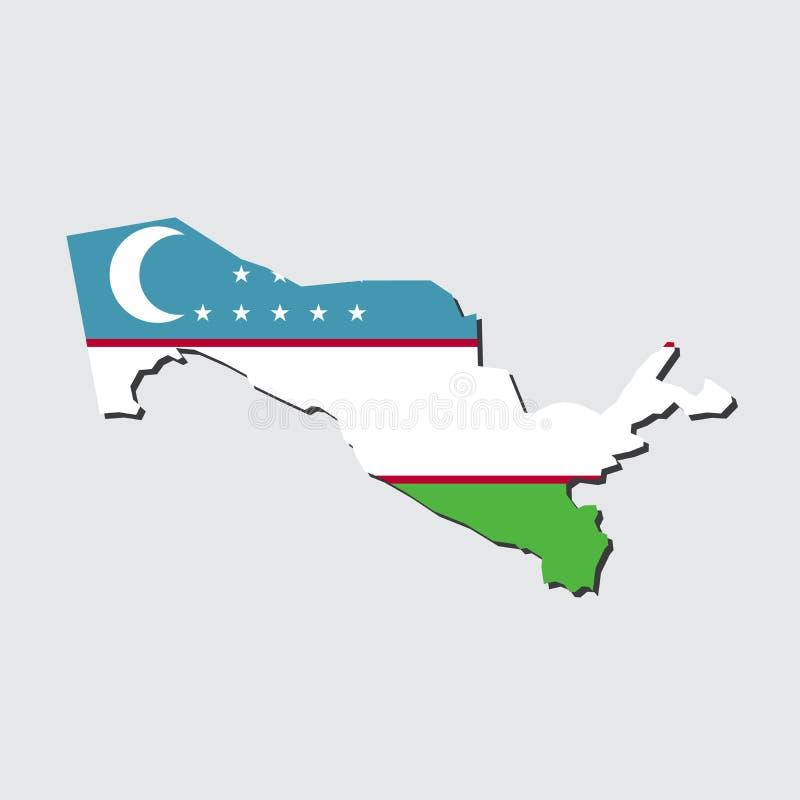 Bandiera della mappa dell'Uzbekistan fotografia stock