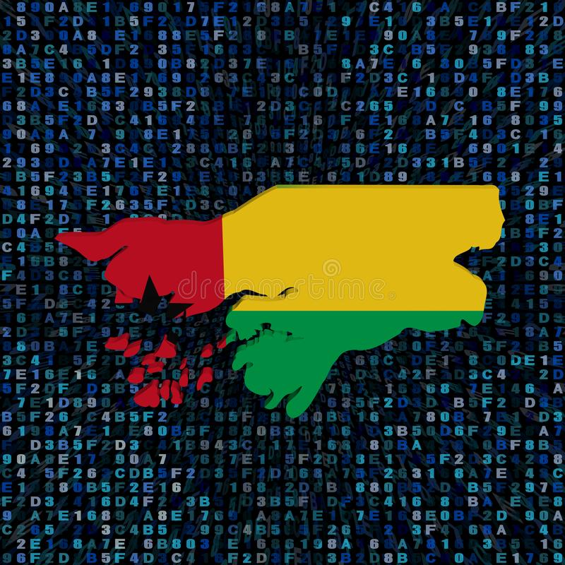 Bandiera della mappa della Guinea-Bissau sull'illustrazione di codice della sfortuna royalty illustrazione gratis
