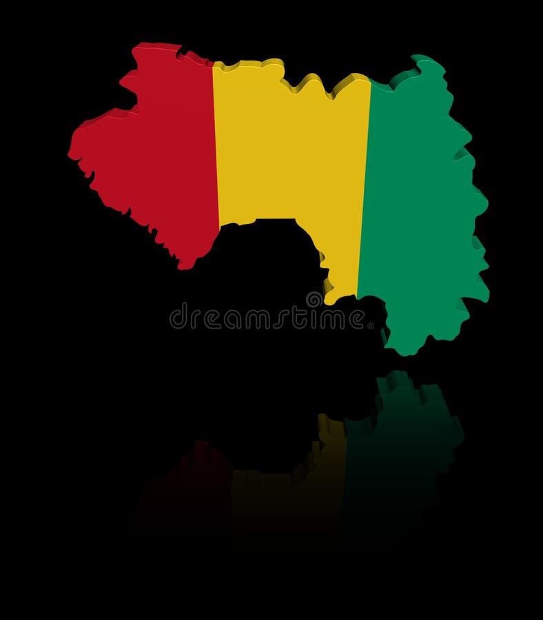 Bandiera della mappa della Guinea con l'illustrazione di riflessione illustrazione di stock