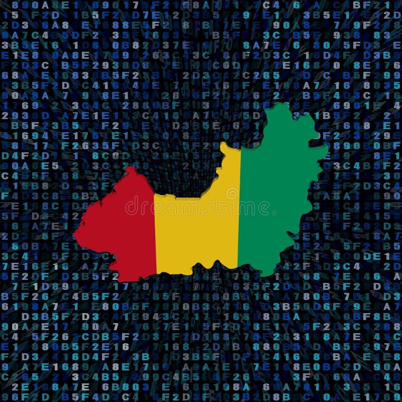 Bandiera della mappa della Guinea sull'illustrazione di codice della sfortuna illustrazione di stock