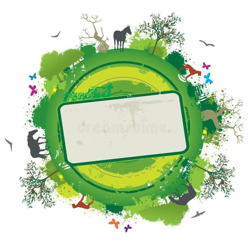 Bandiera della natura di vettore con gli alberi e gli animali illustrazione vettoriale