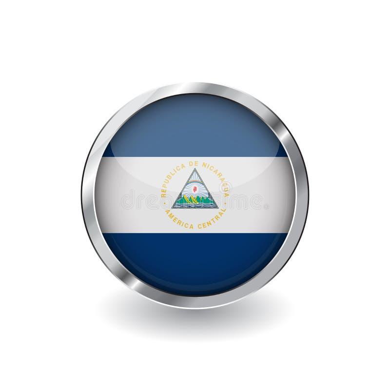 Bandiera della Nicaragua, bottone con la struttura del metallo e l'ombra icona di vettore della bandiera della Nicaragua, distint illustrazione vettoriale