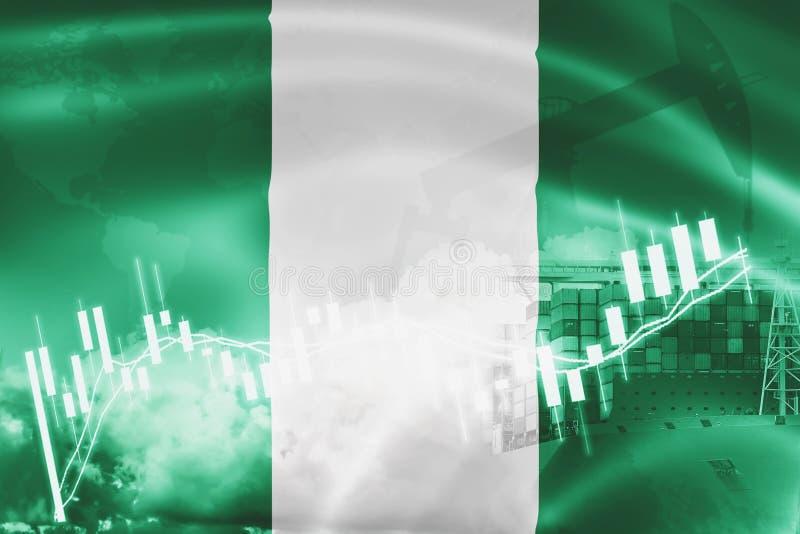 Bandiera della Nigeria, mercato azionario, economia di scambio e commercio, produzione di petrolio, nave porta-container nell'esp illustrazione di stock