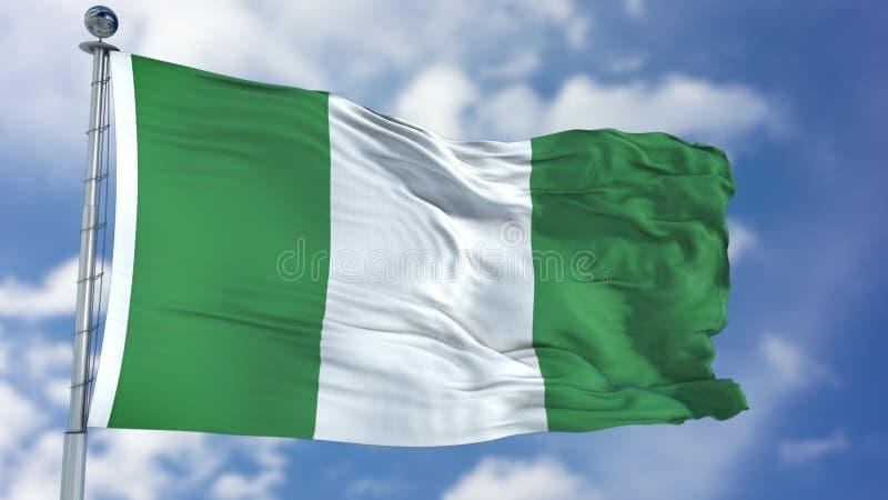 Bandiera della Nigeria in un cielo blu fotografie stock