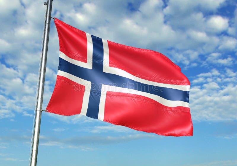 Bandiera della Norvegia che ondeggia con il cielo sull'illustrazione realistica 3d del fondo illustrazione vettoriale