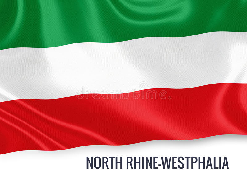 Bandiera della Renania settentrionale-Vestfalia degli stati federati della germania che ondeggia su un fondo bianco isolato royalty illustrazione gratis