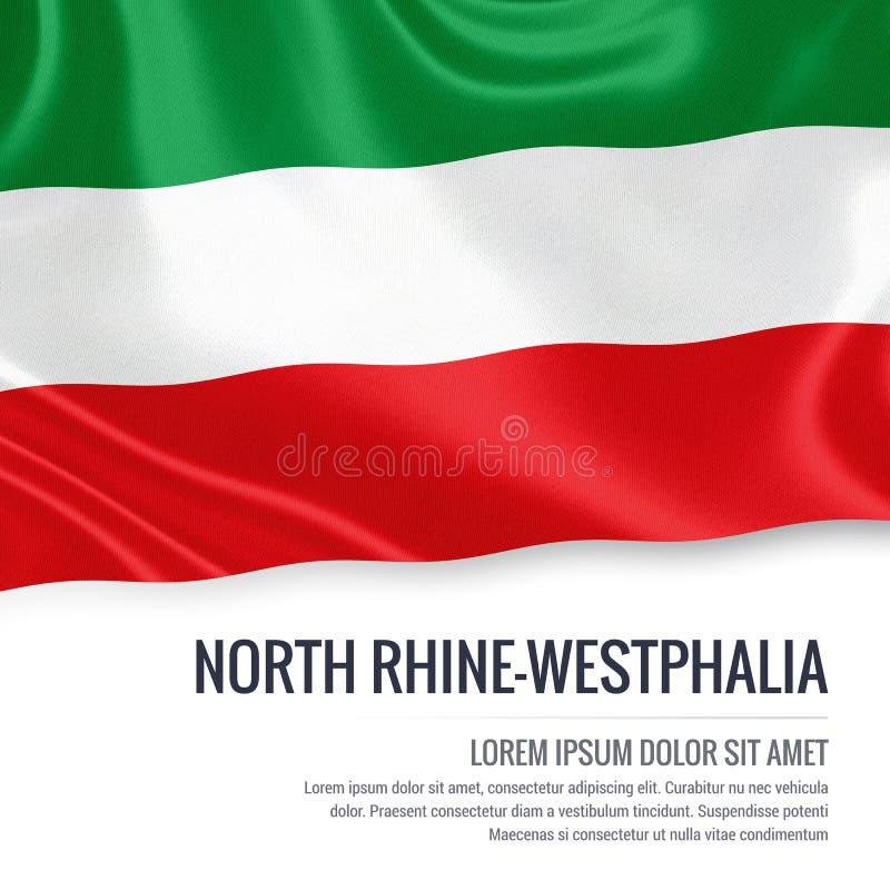 Bandiera della Renania settentrionale-Vestfalia degli stati federati della germania che ondeggia su un fondo bianco isolato Dichi illustrazione di stock