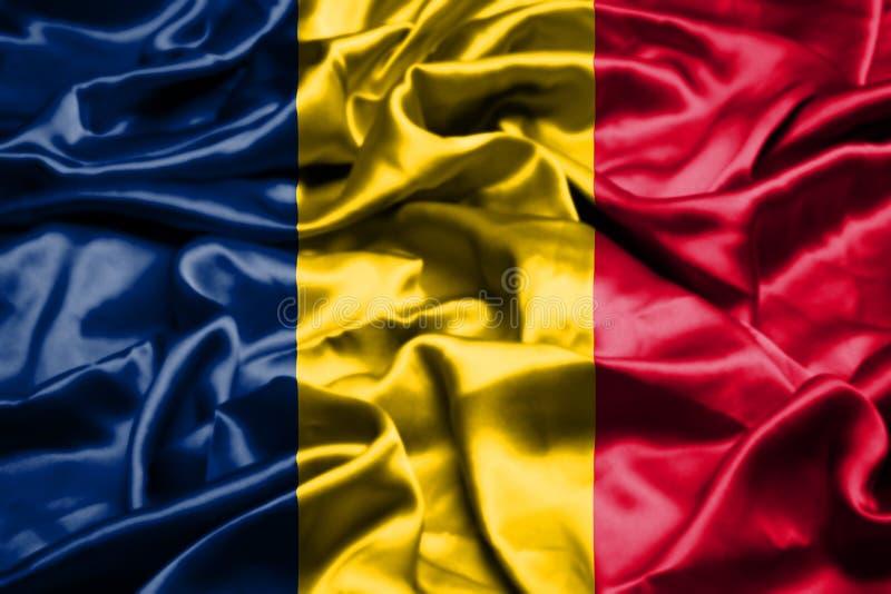 Bandiera della Repubblica del Chad che ondeggia nel vento royalty illustrazione gratis