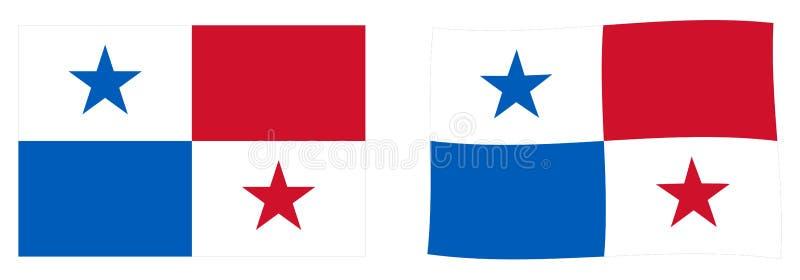 Bandiera della Repubblica di Panama Versione semplice e leggermente d'ondeggiamento illustrazione vettoriale