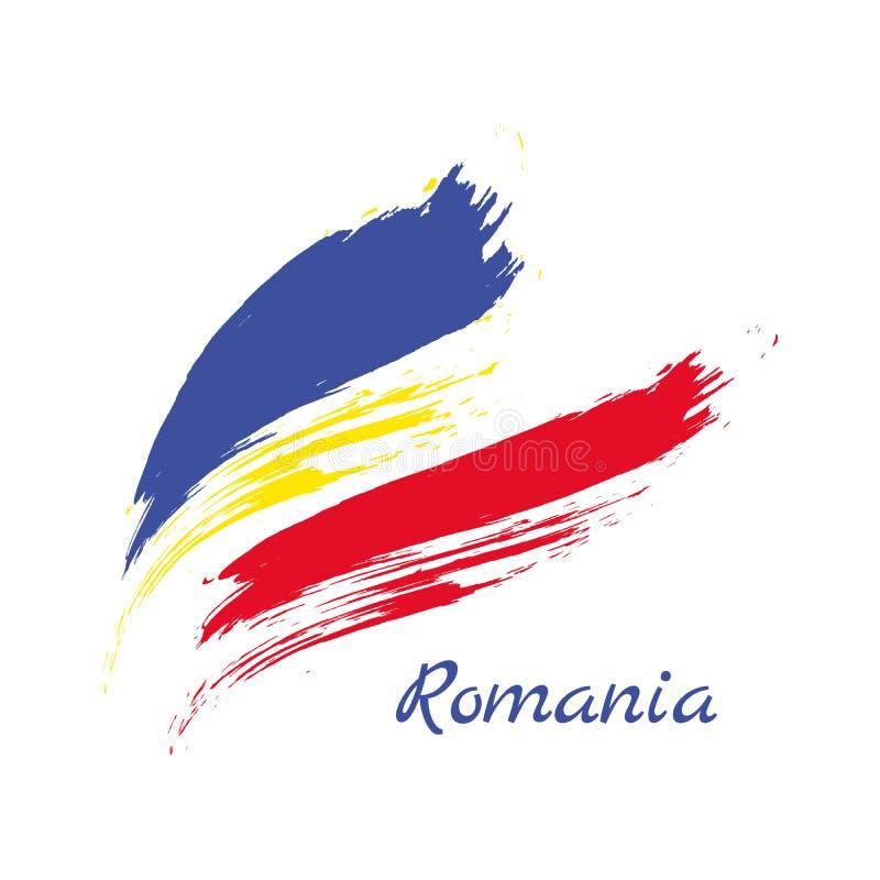 Bandiera della Romania Bandiera astratta della Romania dipinta inchiostro Styl disegnato a mano illustrazione vettoriale
