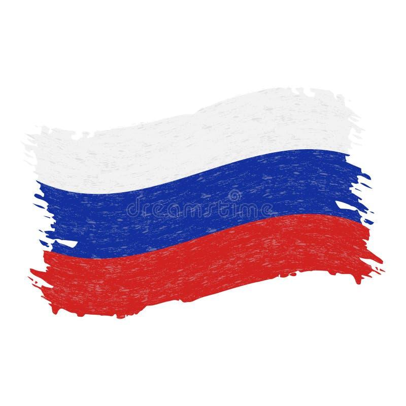 Bandiera della Russia, colpo della spazzola dell'estratto di lerciume isolato su un fondo bianco Illustrazione di vettore illustrazione vettoriale