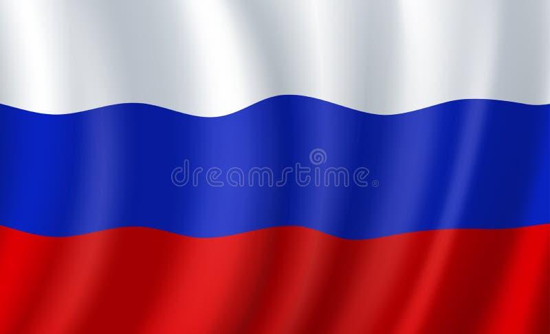 Bandiera della Russia 3d Simbolo nazionale russo di vettore illustrazione di stock