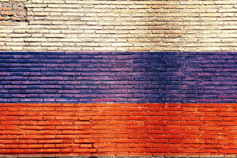 Bandiera della Russia dipinta su un muro di mattoni illustrazione 3D illustrazione di stock