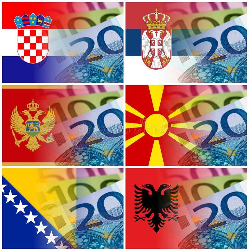 Bandiera della Serbia Croazia Macedonia Montenegro Albania con euro bankn illustrazione di stock