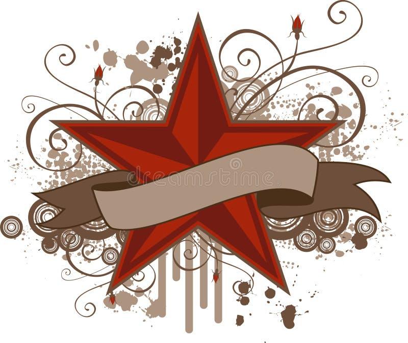Bandiera della stella di Grunge illustrazione di stock