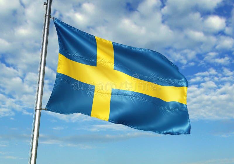 Bandiera della Svezia che ondeggia con il cielo sull'illustrazione realistica 3d del fondo illustrazione di stock