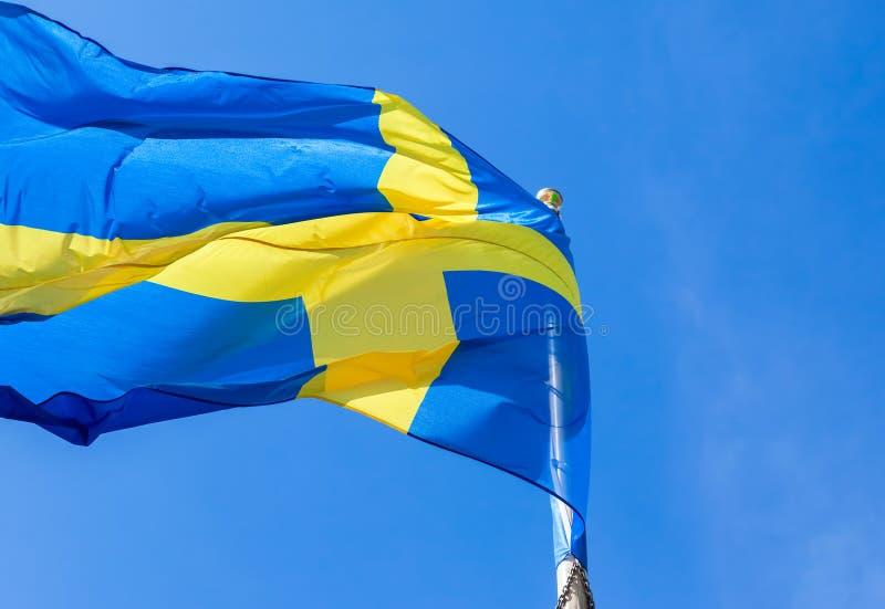 Bandiera della Svezia che ondeggia nel vento su un cielo blu fotografia stock libera da diritti