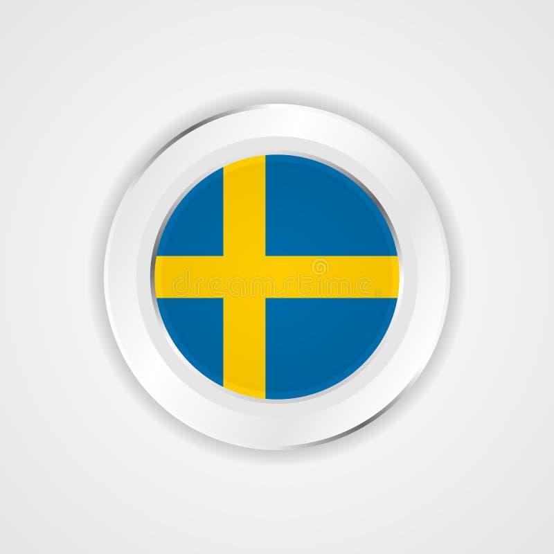 Bandiera della Svezia nell'icona lucida illustrazione vettoriale
