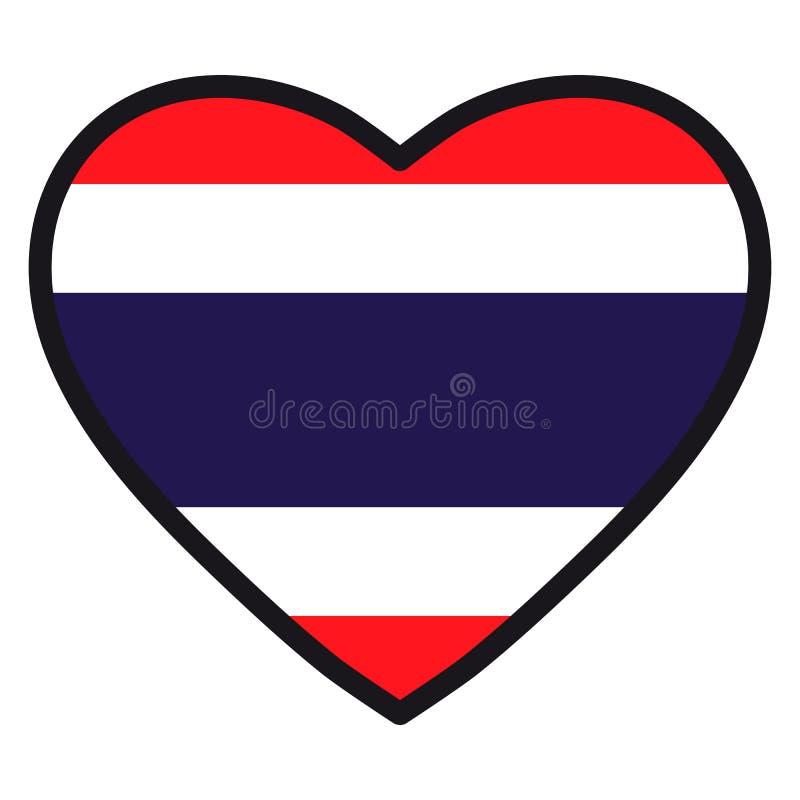 Bandiera della Tailandia sotto forma di cuore con il contorno di contrapposizione, illustrazione di stock