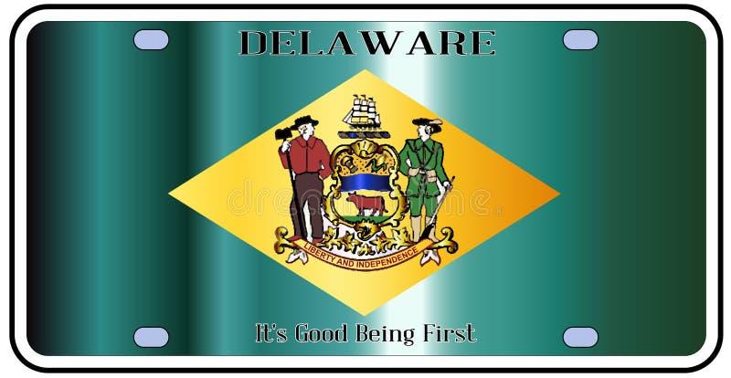 Bandiera della targa di immatricolazione dello stato del Delaware illustrazione di stock