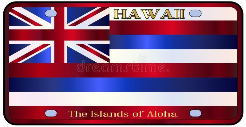 Bandiera della targa di immatricolazione dello stato delle Hawai royalty illustrazione gratis