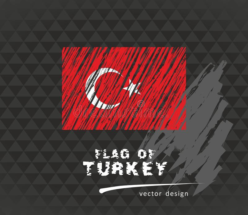 Bandiera della Turchia, illustrazione della penna di vettore su fondo nero royalty illustrazione gratis