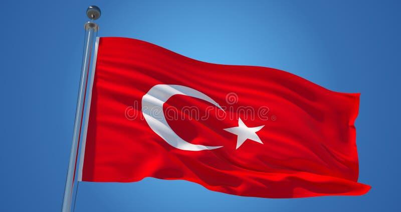 Bandiera della Turchia nel vento contro chiaro cielo blu, illustrazione 3d royalty illustrazione gratis