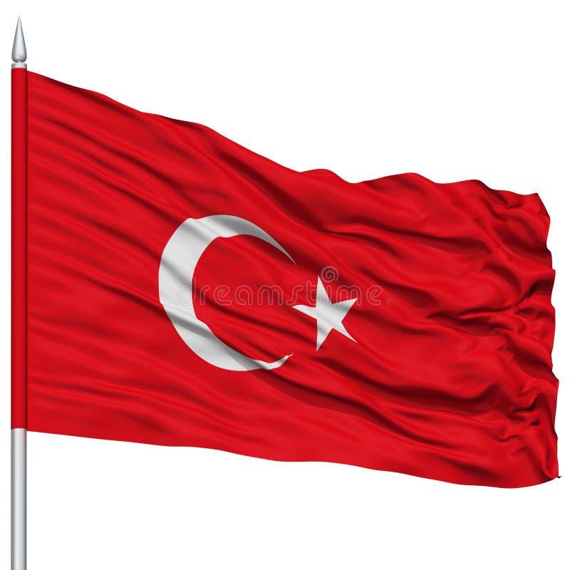 Bandiera della Turchia sull'asta della bandiera fotografia stock