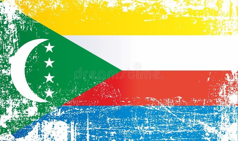 Bandiera delle Comore Punti sporchi corrugati illustrazione vettoriale