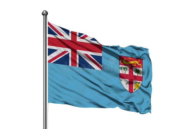 Bandiera delle Figi che ondeggia nel vento, fondo bianco isolato Bandiera Fijian illustrazione vettoriale