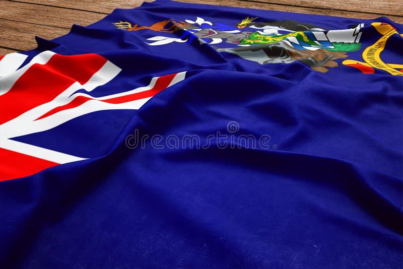 Bandiera delle isole del sud di Georgia And The South Sandwich su un fondo di legno dello scrittorio Vista superiore della bandie fotografia stock libera da diritti