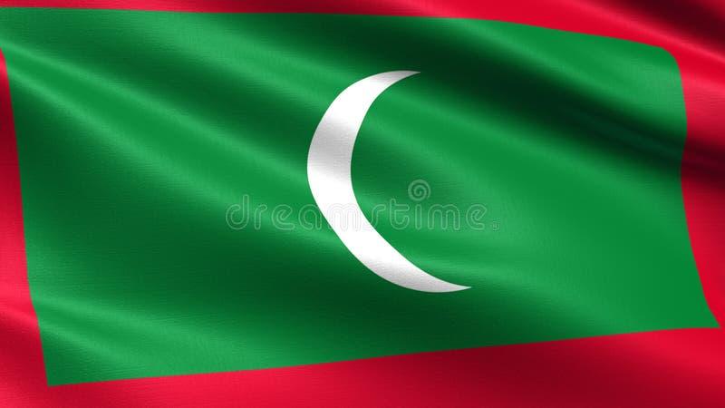 Bandiera delle Maldive, con struttura d'ondeggiamento del tessuto illustrazione di stock