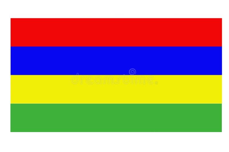 Bandiera delle Mauritius che ondeggia contro il cielo blu pulito, fine su, isolato con la trasparenza dell'alfa canale della masc illustrazione vettoriale