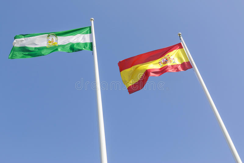 Bandiera dello Spagnolo e dell'andaluso fotografia stock