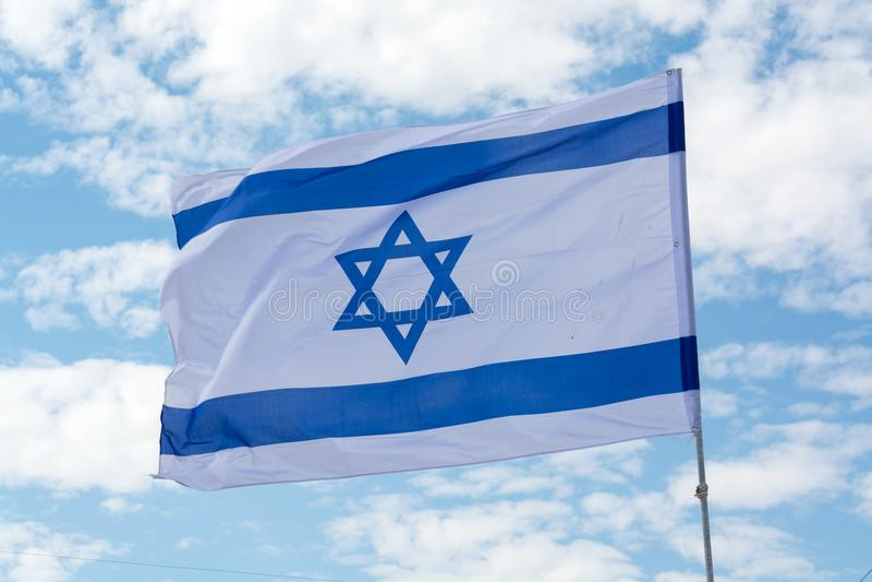 Bandiera dello stato d'Israele, bianco-blu con la stella di Davide, Magen Da fotografia stock libera da diritti
